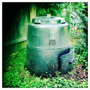 The most important thing of all -- the compost bin! This guy is why everything is so healthy and happy :)